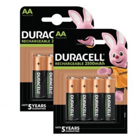 Pilhas Recarregável Duracell AA 2500mAh 8 Pack