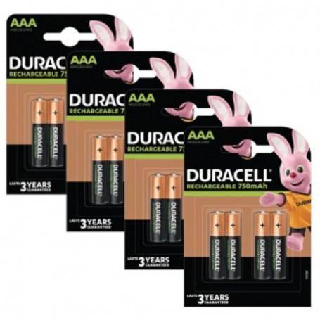 Pilhas Recarregável Duracell AAA 750mAh 16 Pack