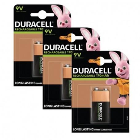 Pilhas Recarregável Duracell 9V 170mAh 3Pack